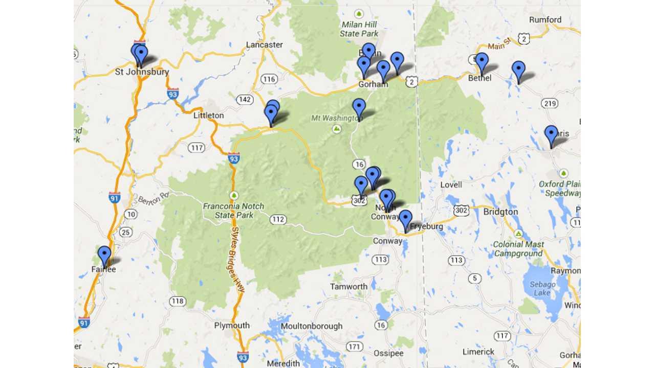 Mt Washington Valley charging stations (ca 2014)