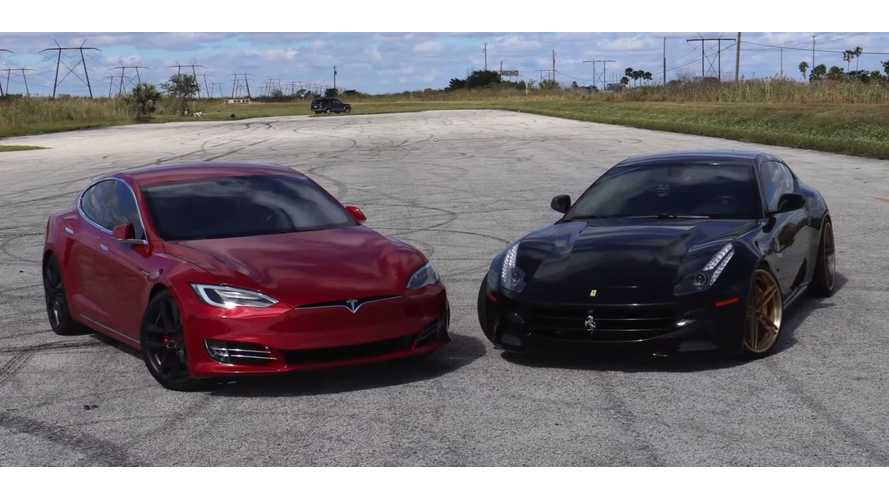 Tesla Model S P100D Smokes Ferrari FF - Race Video