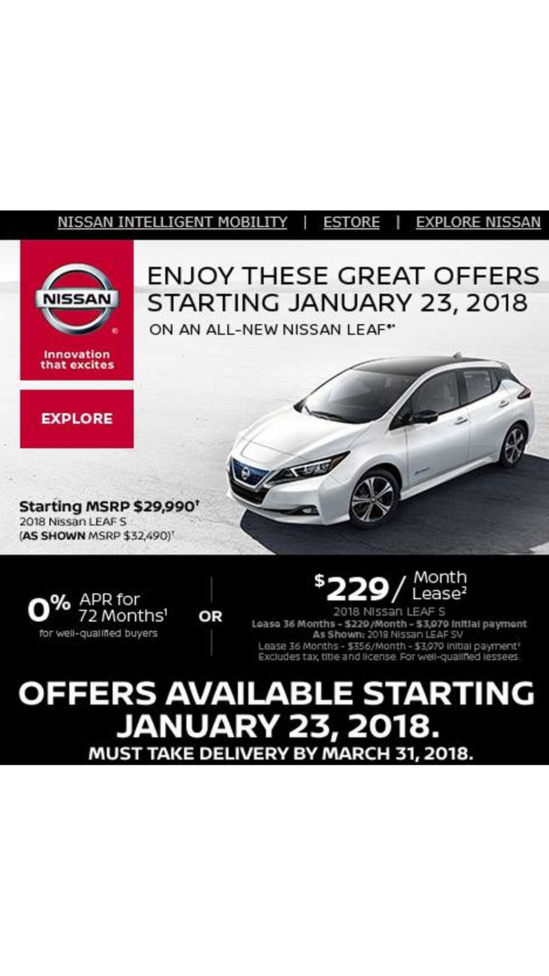 2018 Nissan Leaf Lease Deal 229 Per Month Nearly 4 000 Down