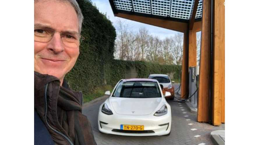 Tesla Model 3 Spotted CCS Charging At Fastned Station