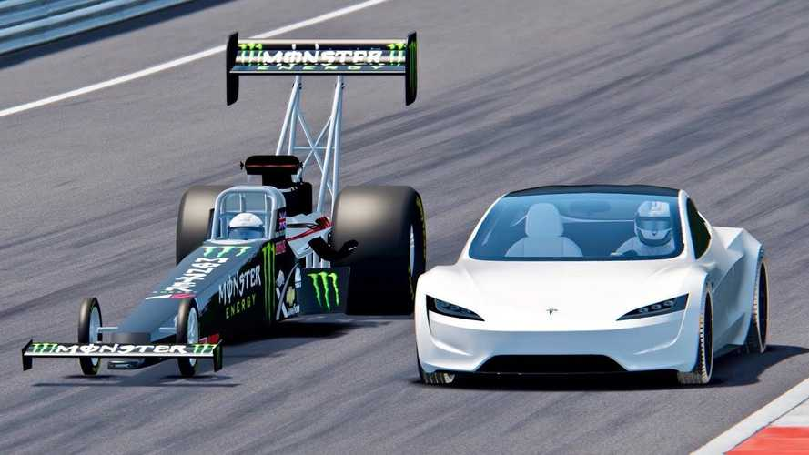 Tesla Roadster Takes On Top Fuel Dragster: Simulated Race Video