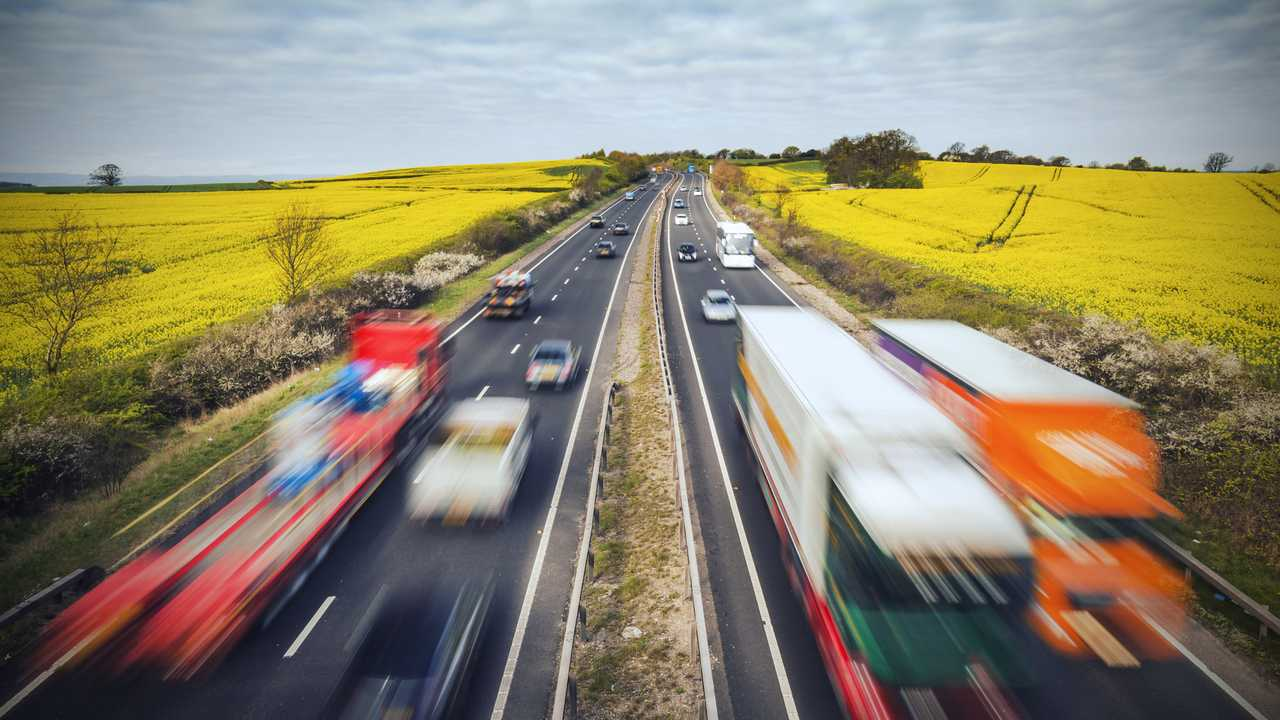 Traffic on British motorway with HGVs