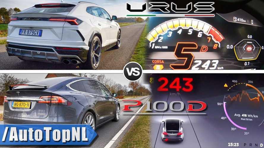 Tesla Model X P100D Vs Lamborghini Urus: Acceleration & Autobahn POV