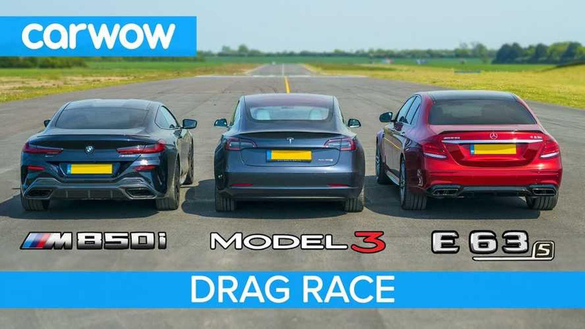 Tesla Model 3 Vs BMW M850i Vs Mercedes-AMG E63 S: Drag Race Video