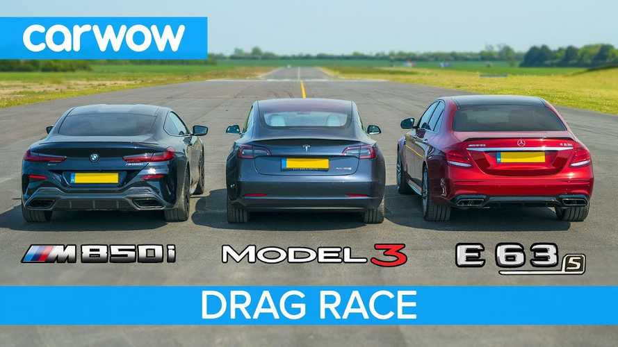 Tesla Model 3 Vs BMW M850i Vs Mercedes-AMG E63 S: Drag Race Video