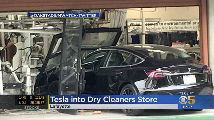 Tesla Model 3 Crashes Into Dry Cleaners, Does Major Damage: Video
