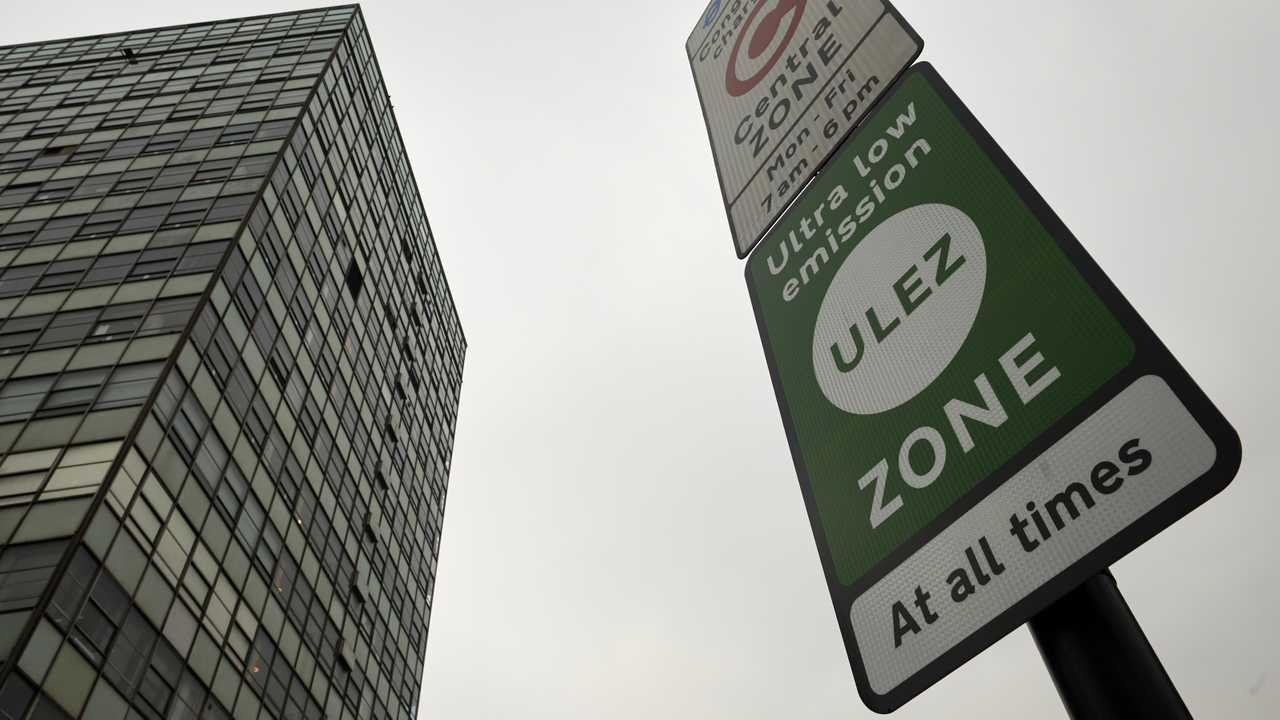 Ultra Low Emission Zone ULEZ sign in central London