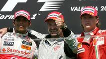 1st place Rubens Barrichello, 2nd place Lewis Hamilton, 3rd place Kimi Raikkonen, European Grand Prix 23.08.2009