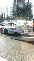 Porsche 997 Martini GT2 crashes in Finland, 302, 31.03.2011