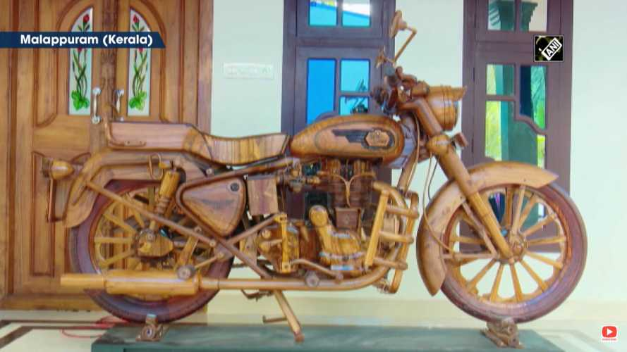 Royal Enfield Fan Builds Amazing Life-Sized Wooden Bullet Replica