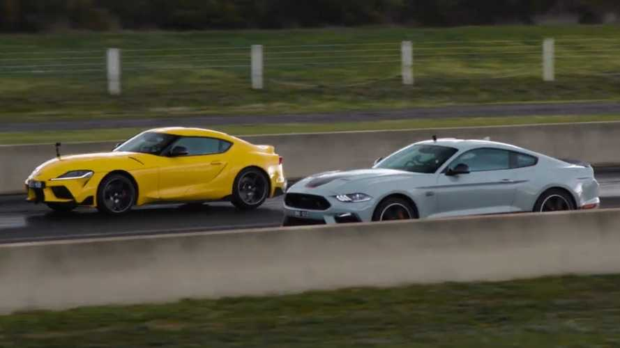 Ford Mustang Mach 1 Battles Toyota Supra In Series Of Drag Races