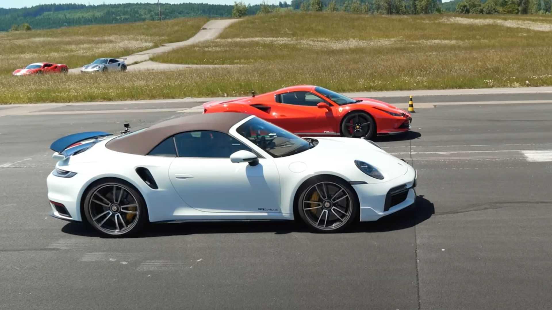 Ferrari F8 Drag Races Porsche 911 Turbo S In Fast Convertible Battle