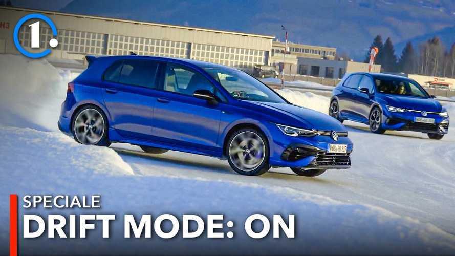 Volkswagen Golf 8 R, la (quasi) prova di traverso sulla neve