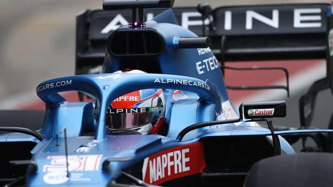 Esteban Ocon at Alpine A521 F1 car launch 2021