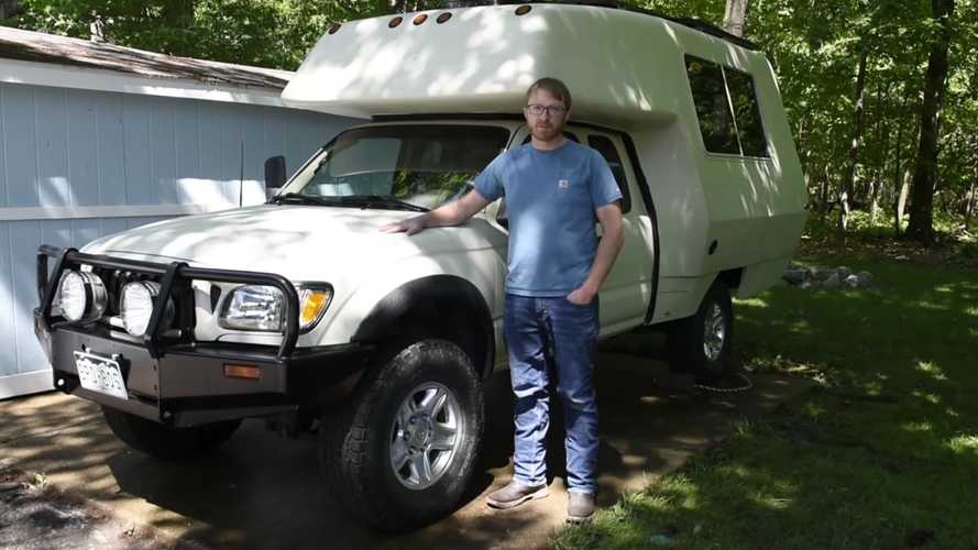 Check Out A Toyota Tacoma Attached To Old Camper With Style
