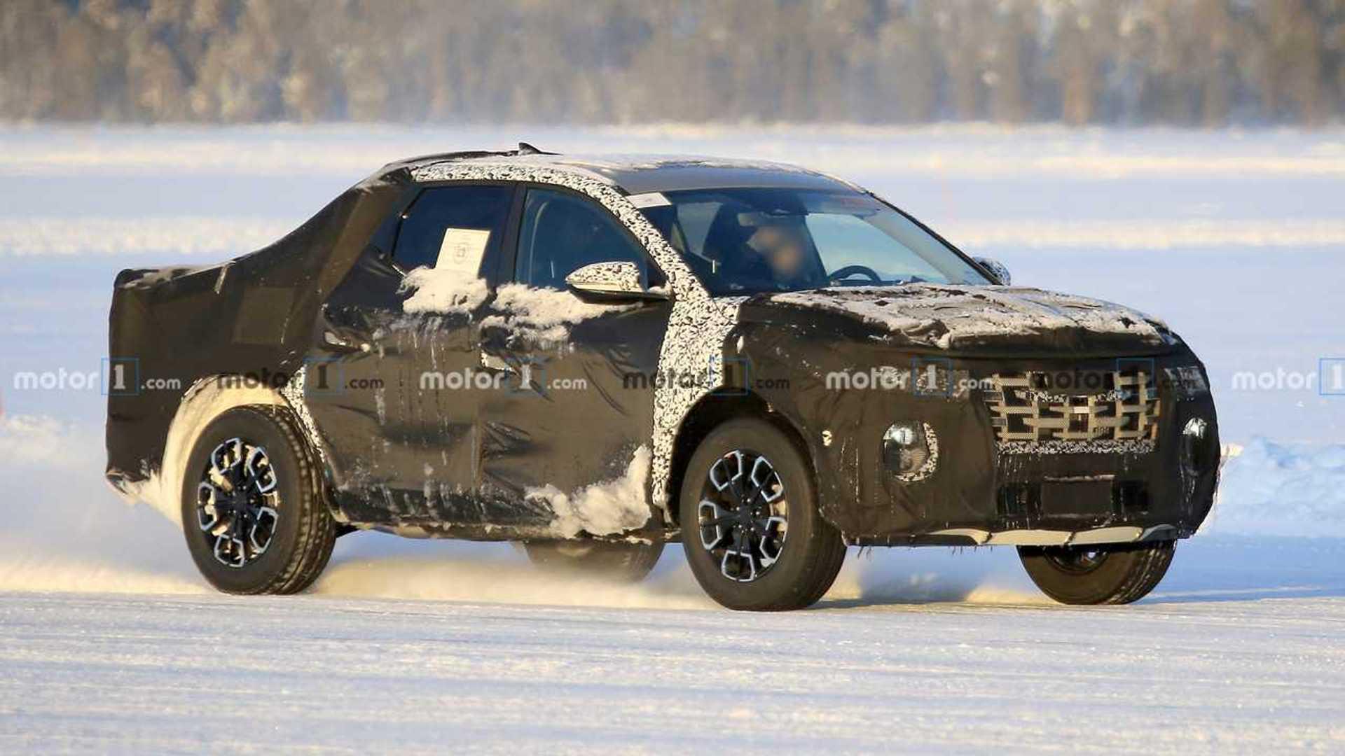 Hyundai Santa Cruz Pickup Spied Looking Snowy In 24 Photos