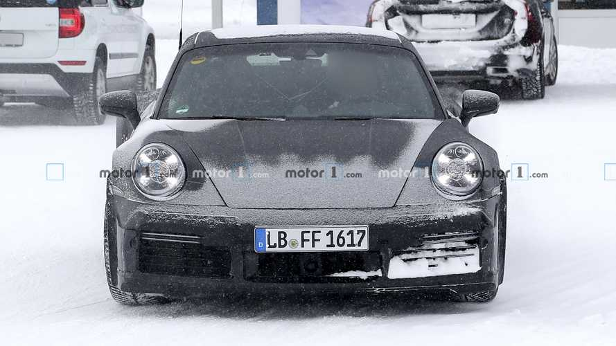 Next-gen Porsche 911 Turbo S with duck tail spoiler spy photos