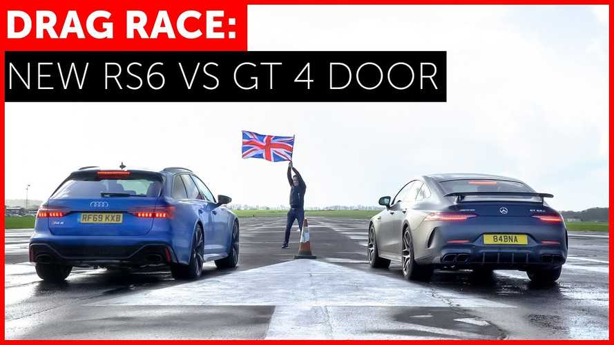 New Audi RS6 Avant Drag Races AMG GT63 S On Damp Airstrip