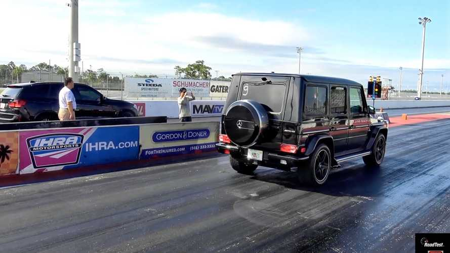 Watch Mercedes-AMG G63 fight BMW X5 M on the drag strip