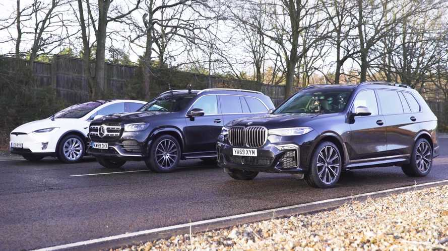 BMW X7 drag races Mercedes GLS, Tesla Model X in battle of fuels