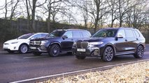 BMW X7, Mercedes-Benz GLS-Class, Tesla Model X drag race