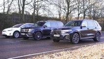 BMW X7, Mercedes-Benz GLS-Class, Tesla Model X drag race
