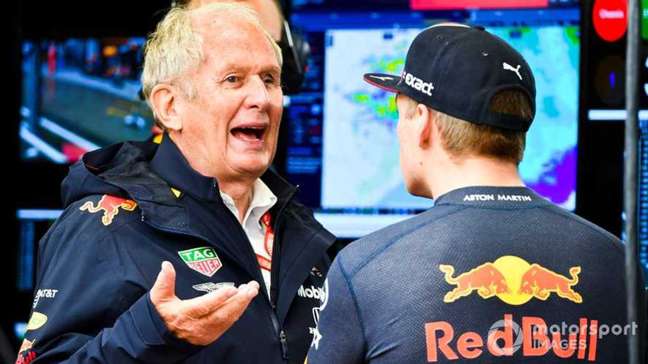 Helmut Marko talks with Max Verstappen at Brazilian GP 2019