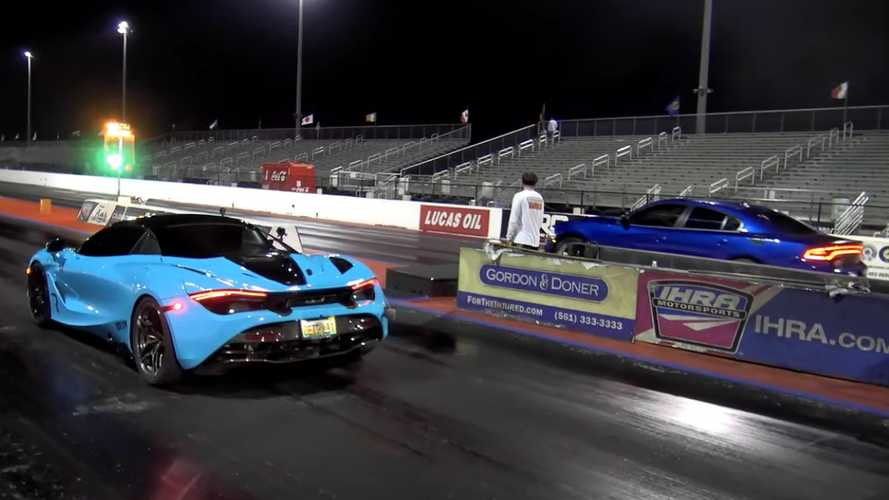 Dodge Charger Hellcat drag races McLaren 720S in battle of mods