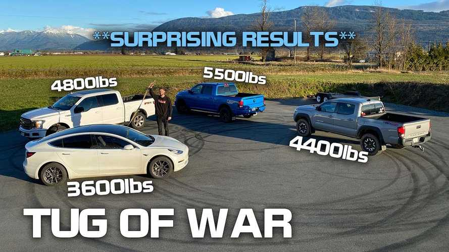 Ford F-150, Ram, Toyota Tacoma Versus Tesla Model 3 In Tug Of War