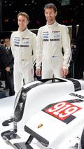 Timo Glock and Mark Webber with 2014 Porsche 919 Hybrid in Geneva