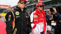 Kimi Raikkonen with Fernando Alonso on the drivers parade 25.08.2013 Belgian Grand Prix