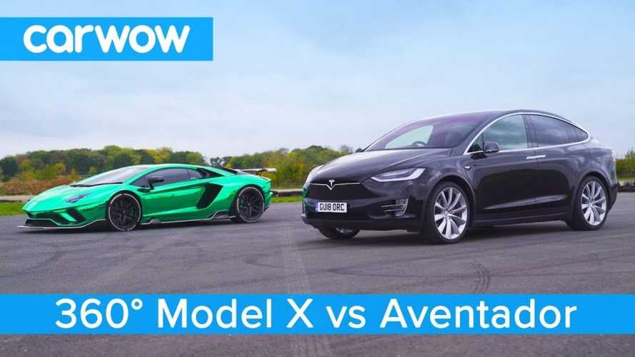 Watch Tesla Model X  Race Lamborghini Aventador: 360 Video
