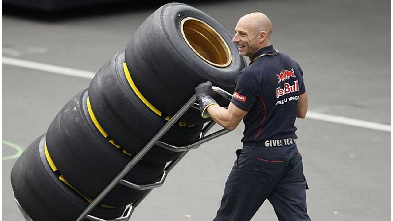 This smiling guy probably doesn't know that his Formula 1 tires are not so energy-efficient