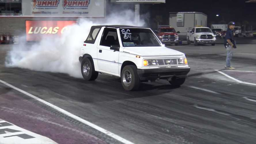 Unsuspecting Geo Tracker with turbo V8 can outrun a McLaren