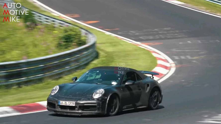 Porsche 911 Turbo Cabriolet Spied Waving Its Big Wing At The 'Ring