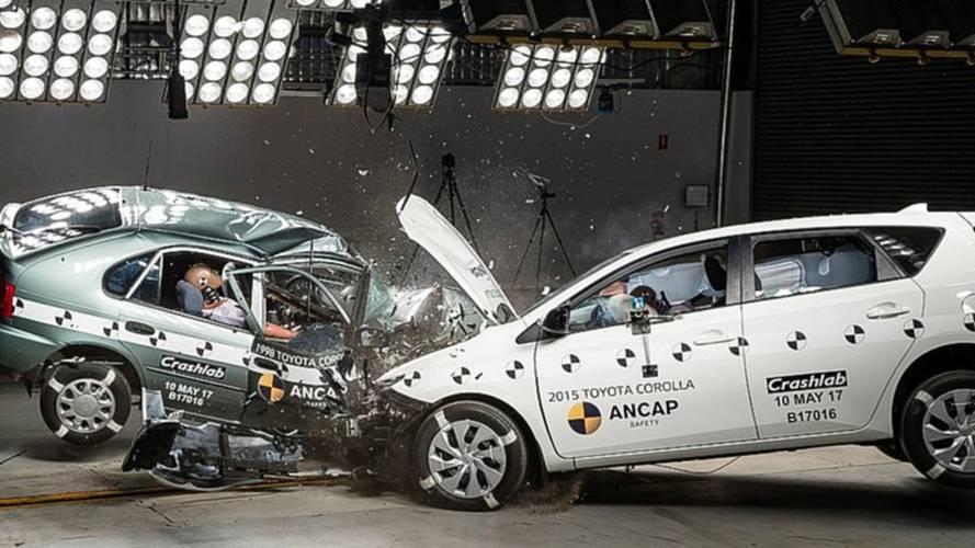 Vídeo: crash-test mostra impacto entre Corolla 1998 e Corolla 2015