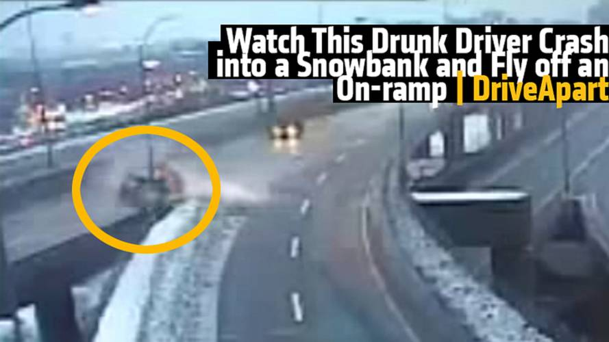 Watch This Drunk Driver Crash into a Snowbank and Fly off an On-ramp