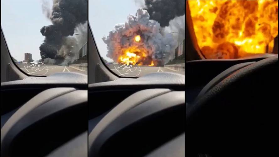 Tanker exploding on highway looks like hell on Earth