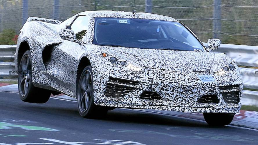 Mid-Engined Corvette Spied At The 'Ring With The Rear Up In The Air