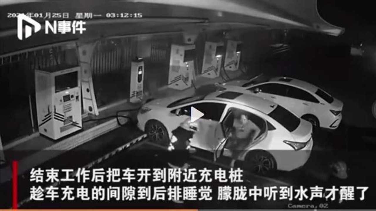 EV car fire charging (source video weibo)