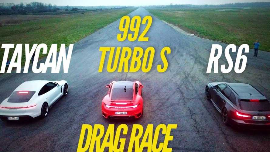Watch Porsche 911 Turbo S Smoke Taycan, Audi RS6 In A Long Drag Race