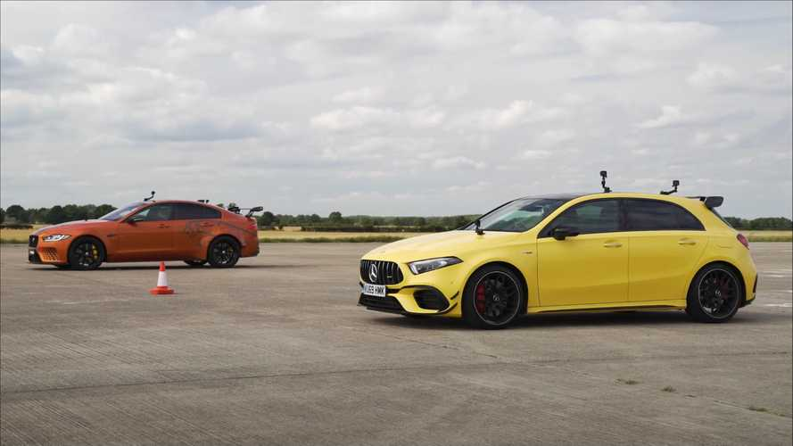 Mercedes-AMG A45 drag races an unlikely opponent, the Jaguar Project 8