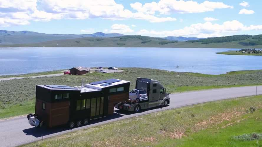 Tiny House-Towing Semi Includes Space For A Second Car