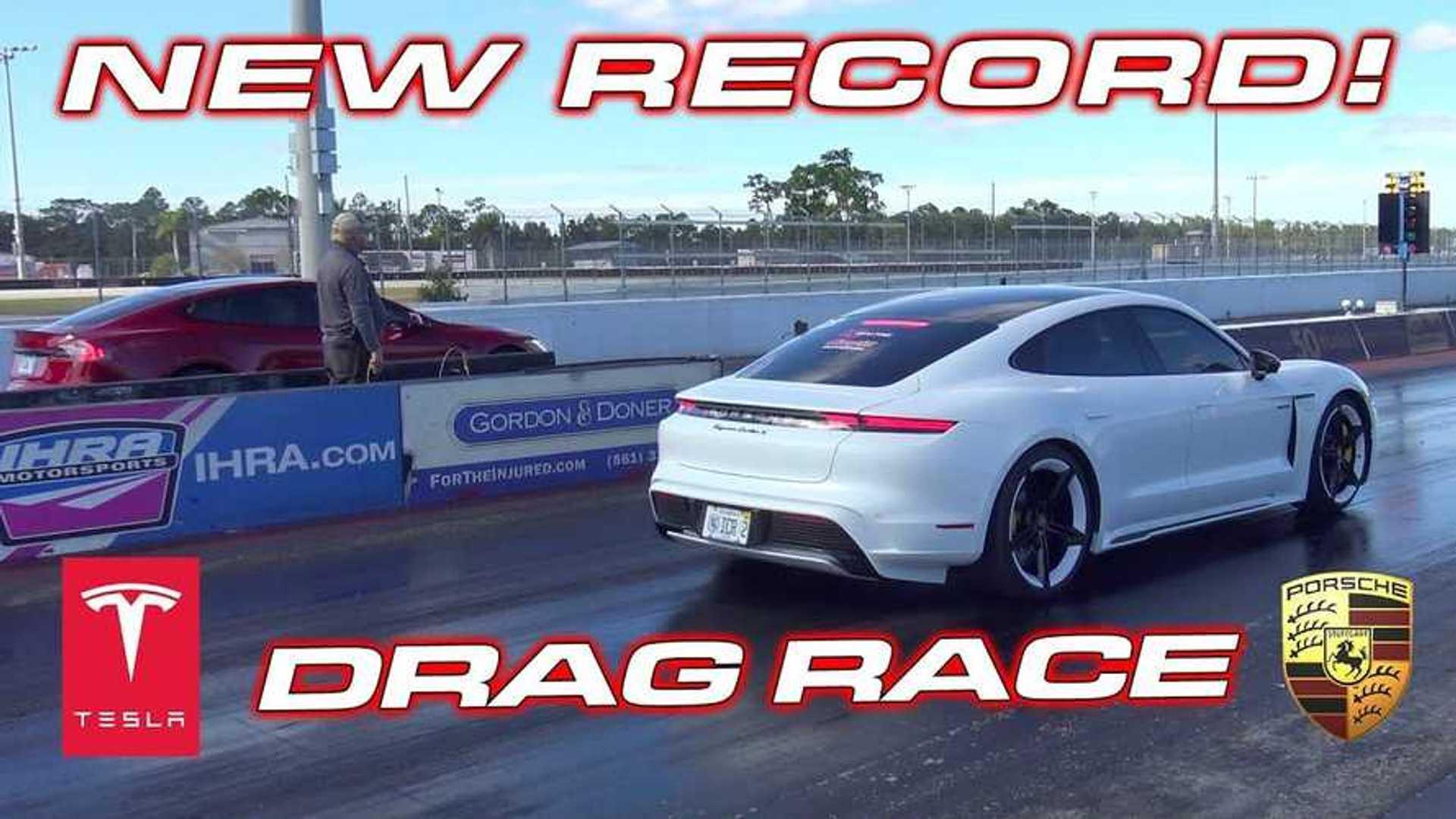 Watch Tesla Model S race Porsche Taycan Turbo S: new EV record set
