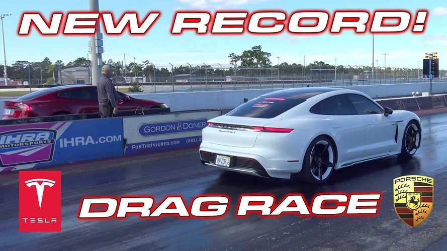 Drag Race Tesla Model S Vs Porsche Taycan Turbo S, Cetak Rekor EV Baru