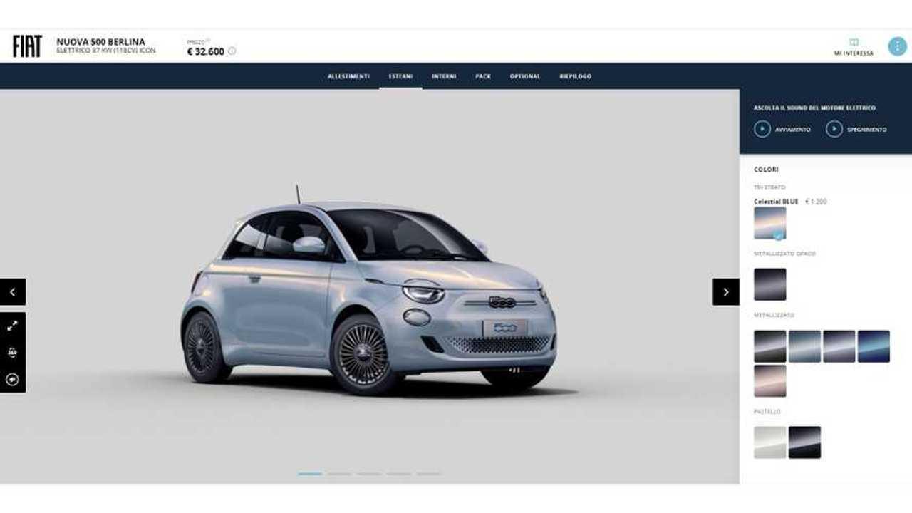 Fiat 500 elettrica, configuratore online