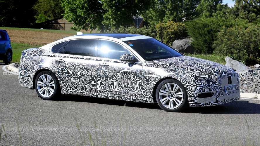 2021 Jaguar XF L spied hiding its revised looks under swirly camo