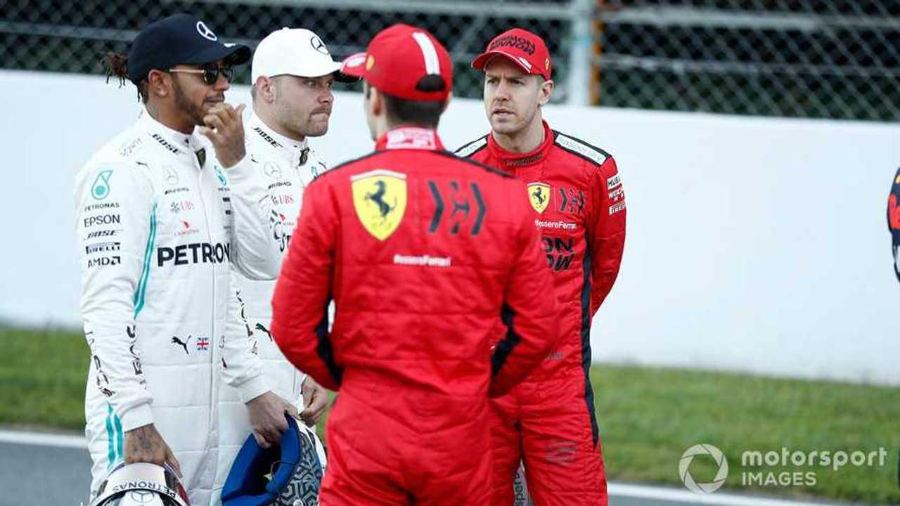 Lewis Hamilton, Valtteri Bottas, Sebastian Vettel, Charles Leclerc at Barcelona 2020