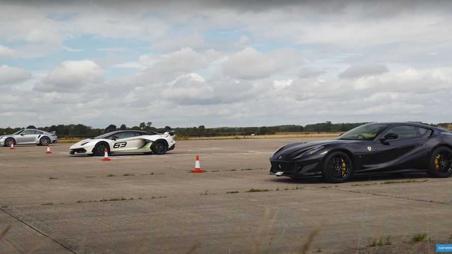 Ferrari 812 Drag Races Aventador SVJ And Porsche 911 Turbo S