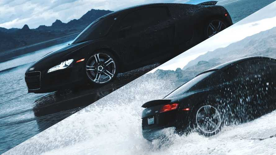 Watch Audi R8 Get Soaking Wet Drifting At Bonneville Salt Flats
